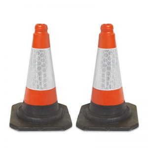 2 Red/Orange UK Road Traffic Cones
