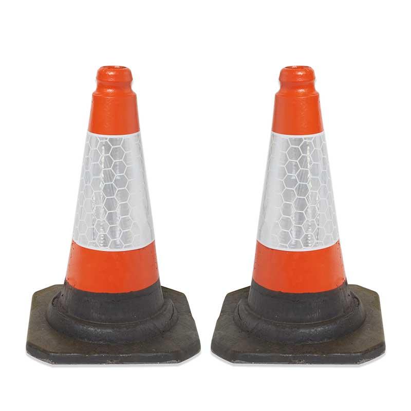 2 Red/Orange UK Road Traffic Cones