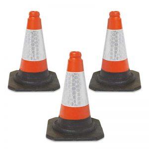 3 Red/Orange UK Road Traffic Cones