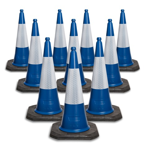 750mm and 1000mm Blue 2 Piece Road Traffic Cone in packs of 5 upwards