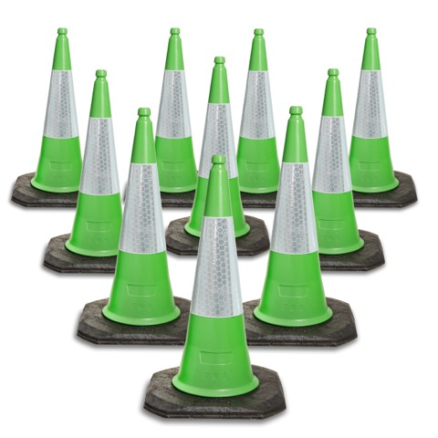 750mm and 1000mm 2 Piece Green Traffic Cones available in packs