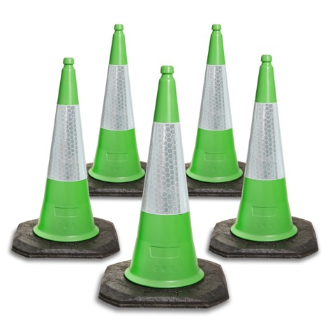 750mm and 1000mm 2 Piece Green Traffic Cones
