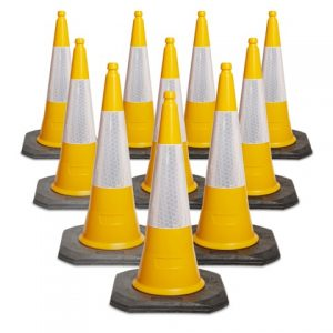 750mm and 1000mm 2 Piece Yellow Traffic Cone available in packs