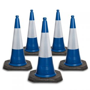 750mm and 1000mm Blue 2 Piece Road Traffic Cones